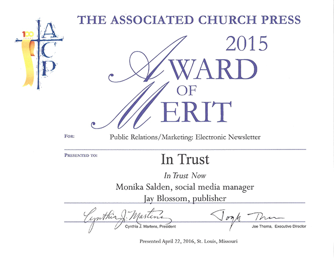 In Trust wins awards at Associated Church Press meeting